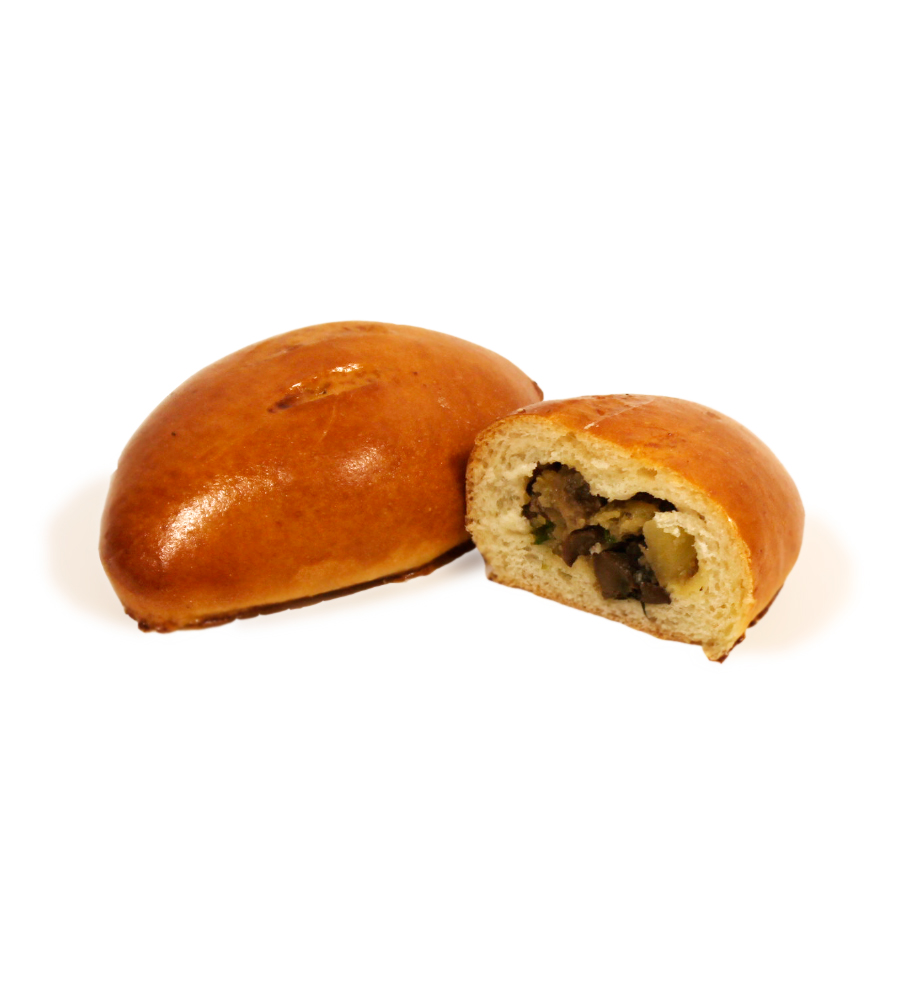 Пирожок печеный с грибами и картошкой